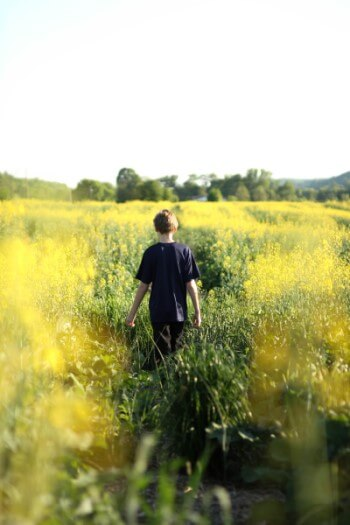 Boy walking through a field of flowers.