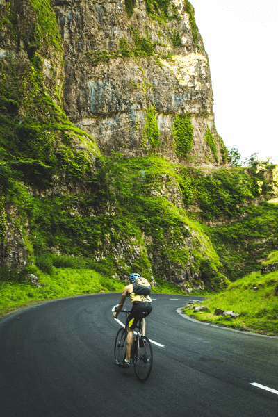 biker on mountain road