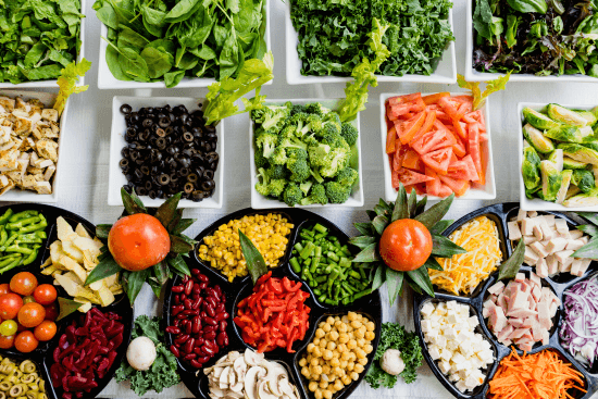 A healthy salad bar of vegetables.