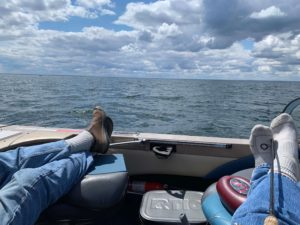 relaxing in a boat